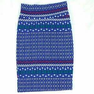Lularoe XS Pencil Skirt BOHO Holiday Christmas